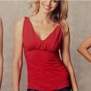 CAbi | Red Grecian Double V-neck Ruched Tank Top